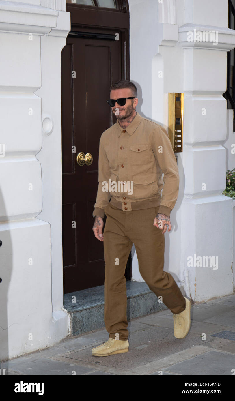 London, UK. 10th June 2018. David Beckham  attending his Kent & Curwen England Fashion Presentation at London Fashion Week  SS19 Credit: Paul Licorish/Alamy Live News - Stock Image