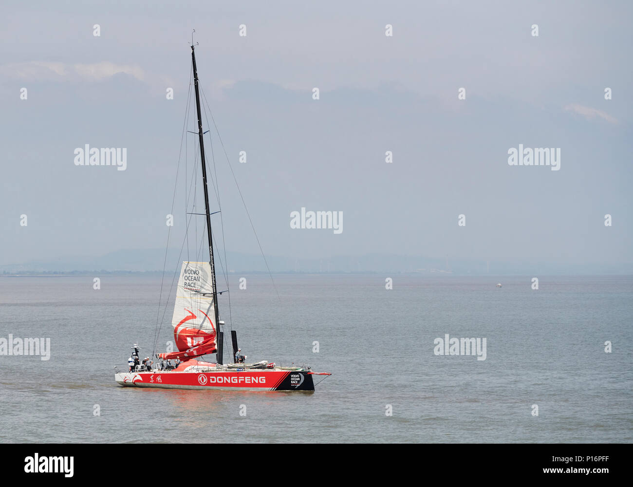 Cardiff Bay, Cardiff, Wales UK. 10th June 2018. Current race leader Dongfeng Race Team,  leaves port to prepare for the start of The Volvo Ocean Race  Leg 10 Cardiff to Gothenburg. Credit: Phillip Thomas/Alamy Live News Stock Photo