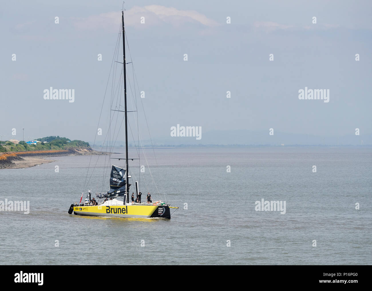 Cardiff Bay, Cardiff, Wales UK. 10th June 2018  Brunel,  leaves port to prepare for the start of The Volvo Ocean Race  Leg 10 Cardiff to Gothenburg. Credit: Phillip Thomas/Alamy Live News Stock Photo