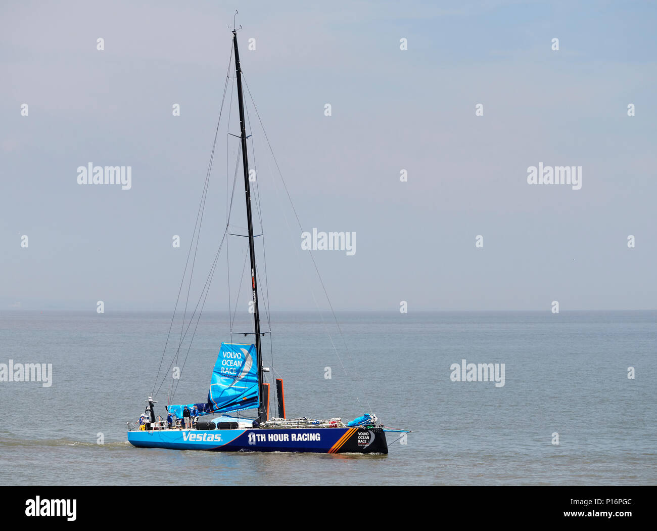 Cardiff Bay, Cardiff, Wales UK. 10th June 2018  Vestas 1ith Hour Racing,  leaves port to prepare for the start of The Volvo Ocean Race  Leg 10 Cardiff to Gothenburg. Credit: Phillip Thomas/Alamy Live News Stock Photo