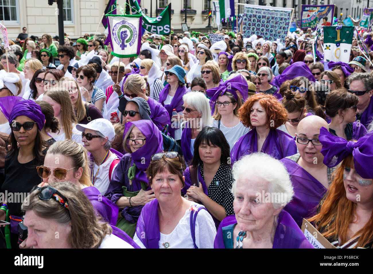 London, UK. 10th June, 2018. PROCESSIONS, a mass participation artwork produced by Artichoke and commissioned by 14-18 NOW. The artwork provides a living portrait of UK women in the 21st century and is is intended as 'a visual expression of equality, strength and cultural representation, inviting all women to unite and celebrate the early fight for the right to vote and express what it means to be a woman today'. Credit: Mark Kerrison/Alamy Live News - Stock Image