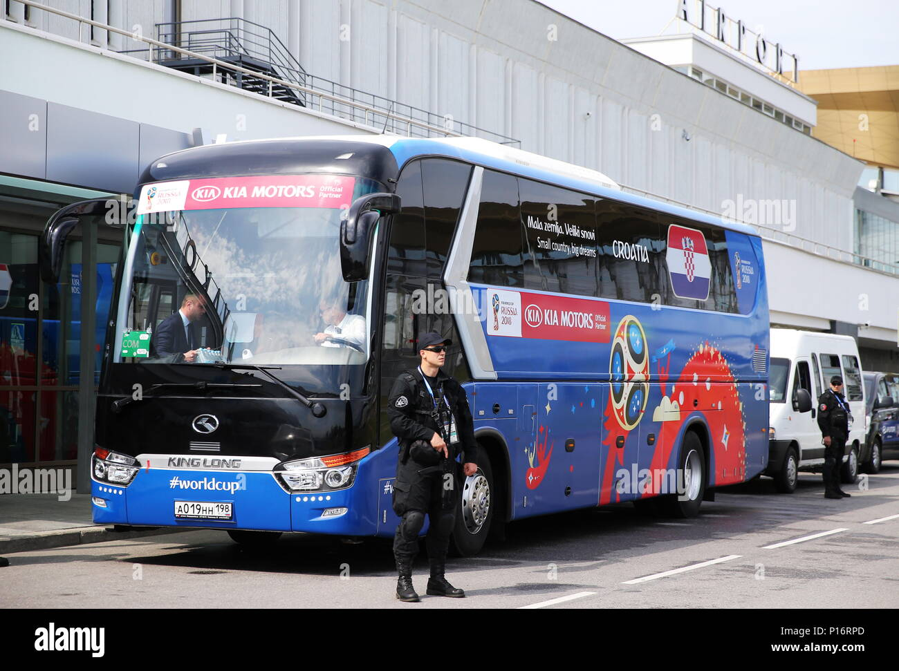 7155f0c56 ST PETERSBURG, RUSSIA - JUNE 11, 2018: A bus of the Croatian men's national  football team players seen at St Petersburg's Pulkovo International Airport  as ...