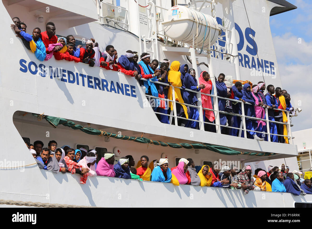Salerno, the phases of disembarkation from the rescue ship Aquarius managed  by the NGO SOS Mediterranee and Doctors Without Borders in the port of  Salerno with 1004 migrants including 240 children rescued