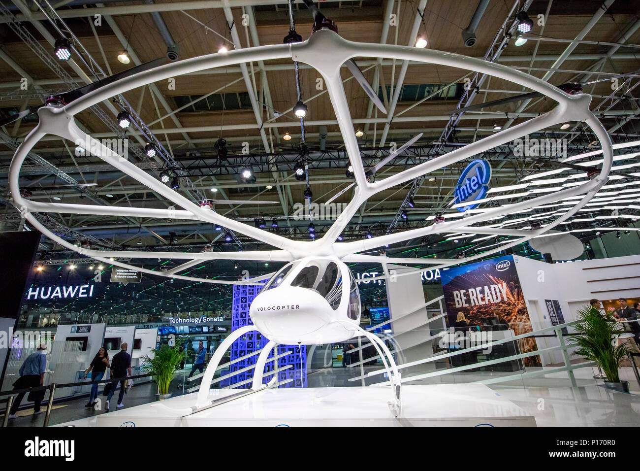 Hannover, Germany. 11th June, 2018. CEBIT 2018, international computer expo and Europe's Business Festival for Innovation and Digitization: Volocopter 2X, world's first manned fully electric vtol (vertical take-off and landing) aircraft, multirotor electric helicopter build by Volocopter GmbH, Germany. Credit: Christian Lademann - Stock Image