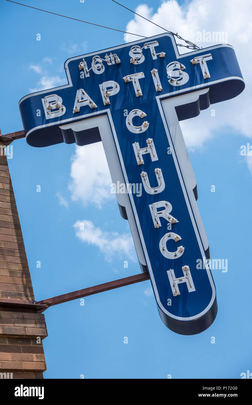16th Street Baptist Church in Birmingham, AL, site of a KKK racist bombing that killed four black girls and injured 22 others on September 15, 1963. Stock Photo