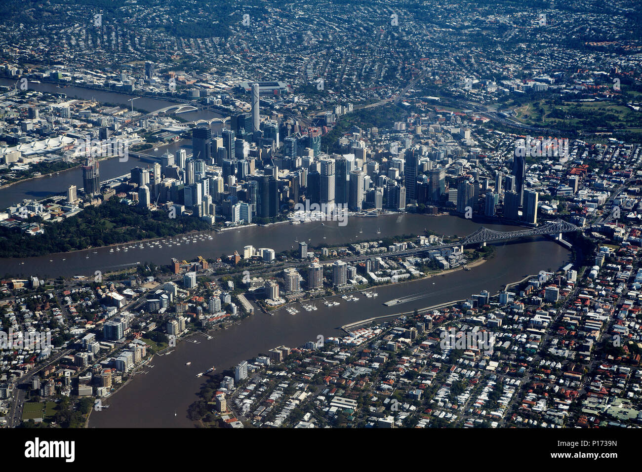 Brisbane River, Story Bridge, and Brisbane CBD, Queensland, Australia - aerial - Stock Image