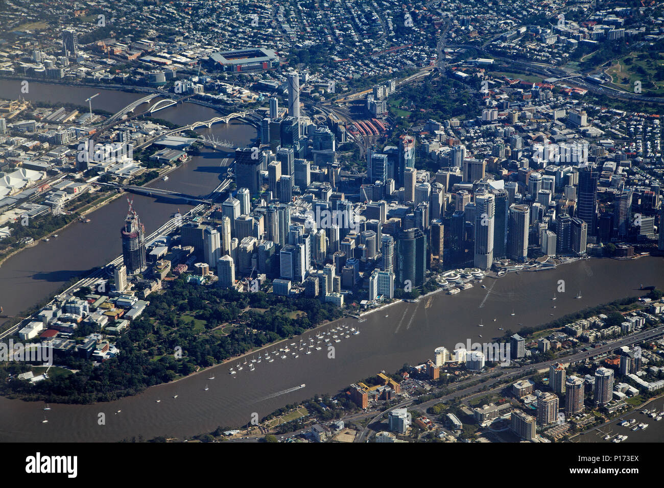 Brisbane River and Brisbane CBD, Queensland, Australia - aerial - Stock Image