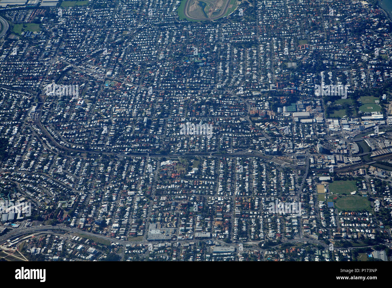 Suburbs of Albion, Ascot, Clayfield, and Hendra, Brisbane, Queensland, Australia - aerial - Stock Image