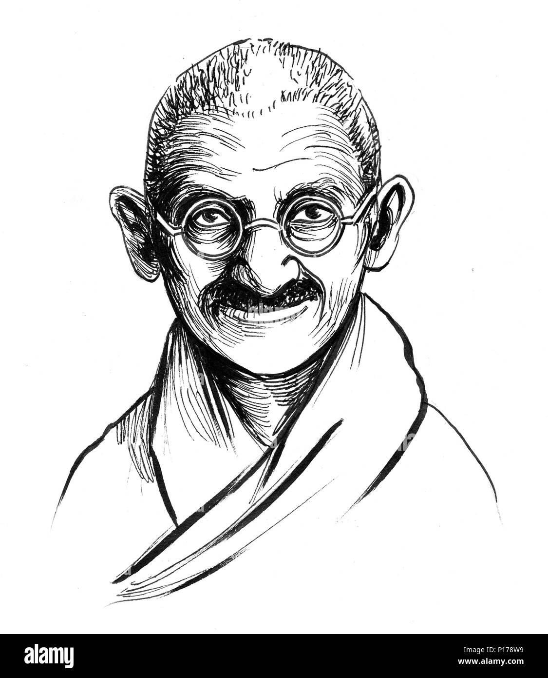 Mahatma gandhi black and white sketch stock photo