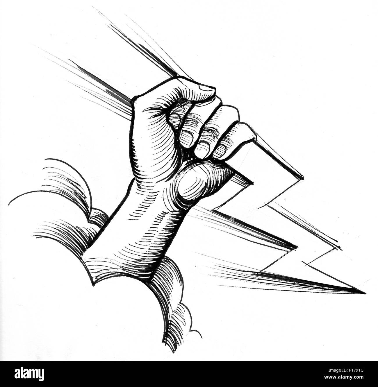 Hand With A Lightning Bolt Ink Black And White Illustration
