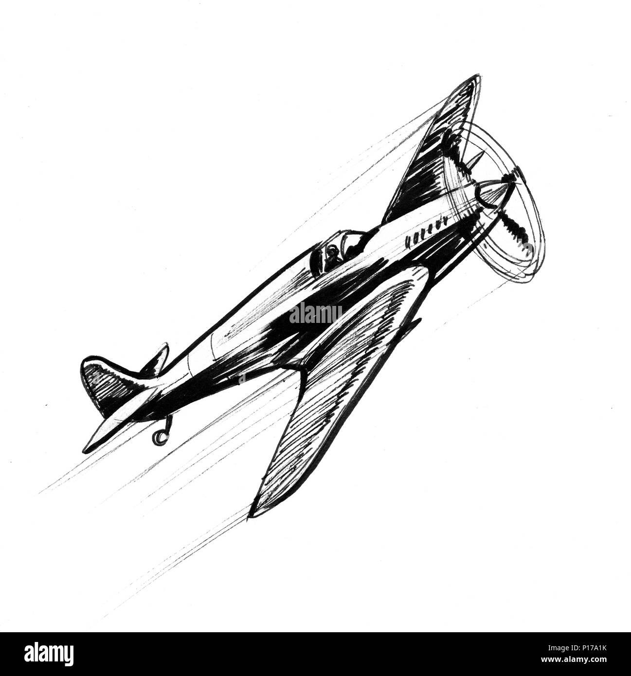 World War 2 Military Plane Ink Black And White Illustration Stock