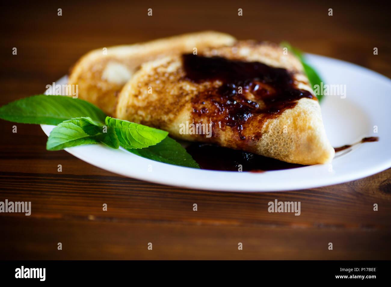 fried pancakes thin Stock Photo