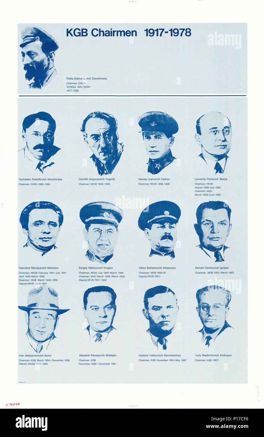 Poster of all KGB Chairmen from 1917-1978 - Stock Image