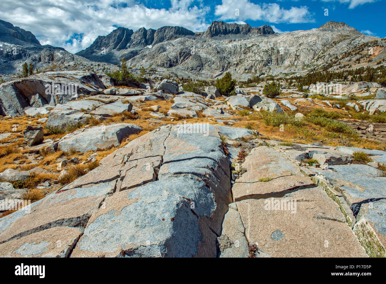 North Glacier Pass, Mount Ritter, Ansel Adams Wilderness, Inyo National Forest, Eastern Sierra, California Stock Photo
