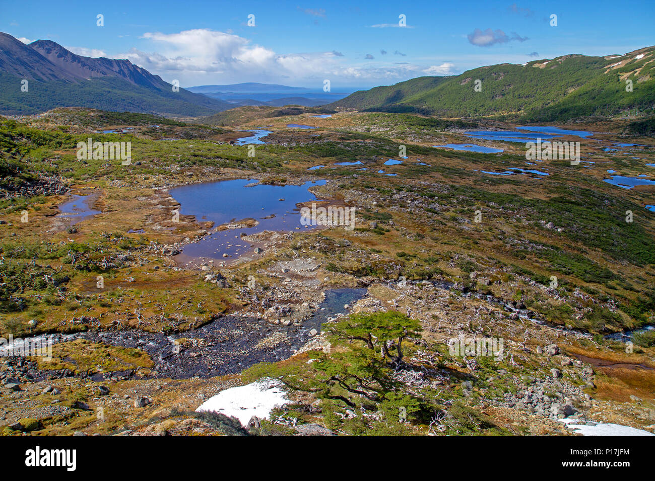 View towards Cape Horn from the mountains of Isla Navarino - Stock Image
