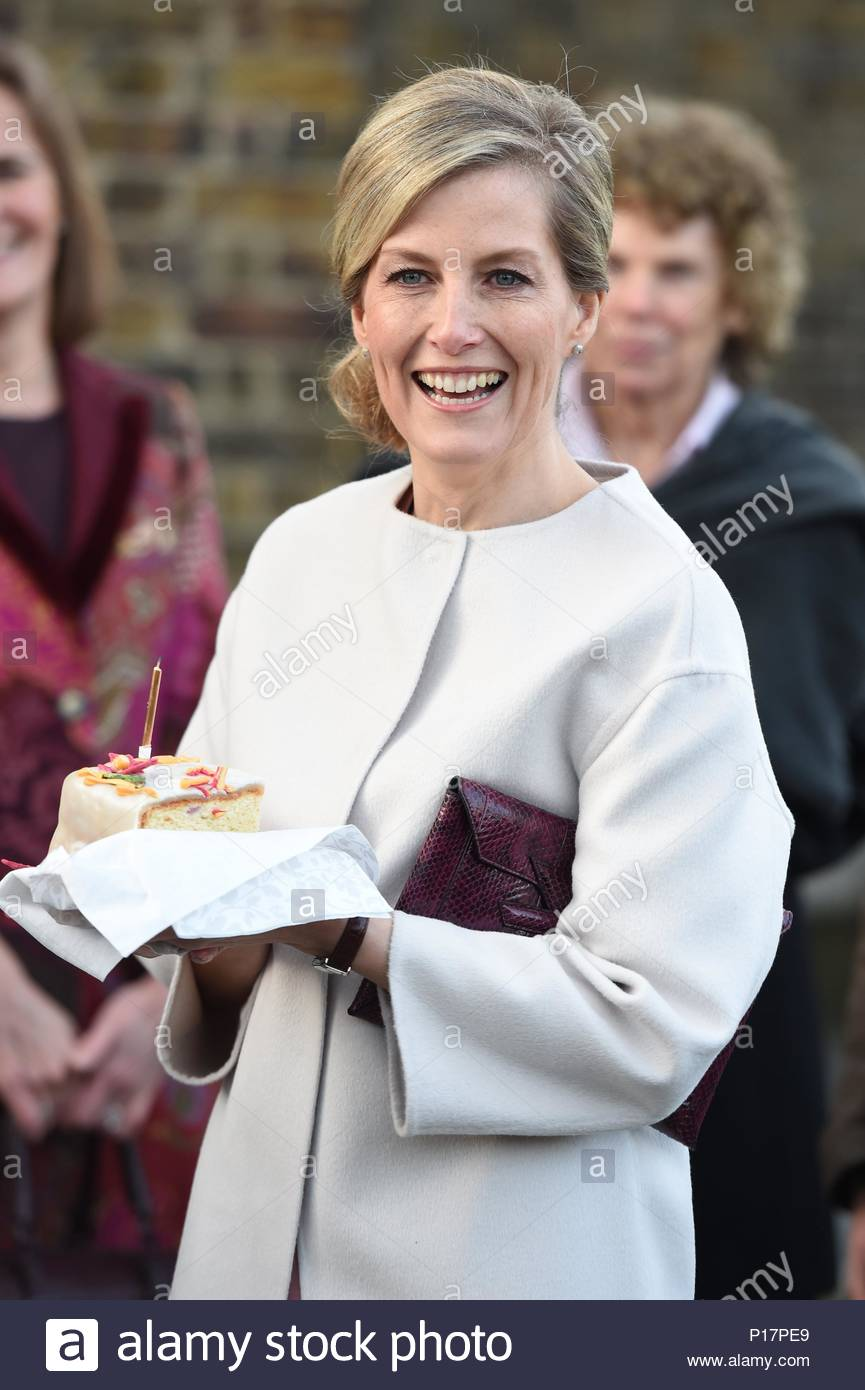 Sophie, Countess of Wessex. The Countess of Wessex, on her 50th Birthday, meets staff and supporters at the Tomorrow's People Social Enterprises, St Anselm's Church, Kennington, London, UK. - Stock Image