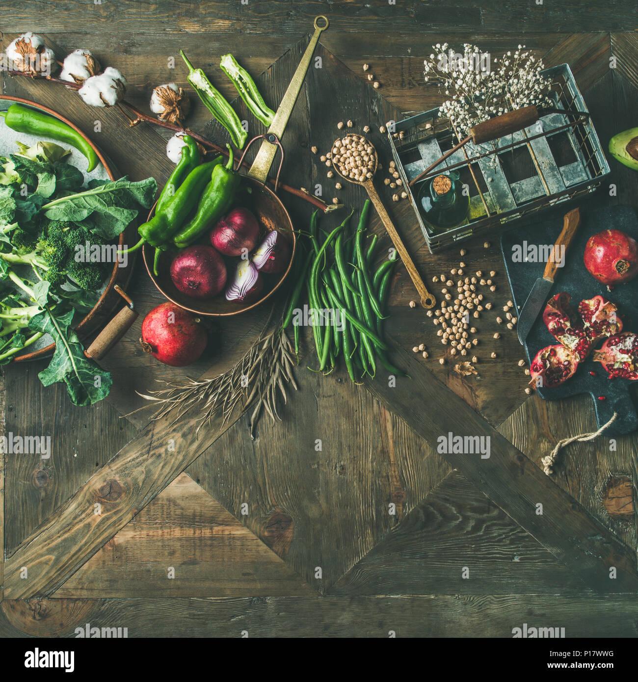 Winter vegetarian or vegan food cooking ingredients - Stock Image