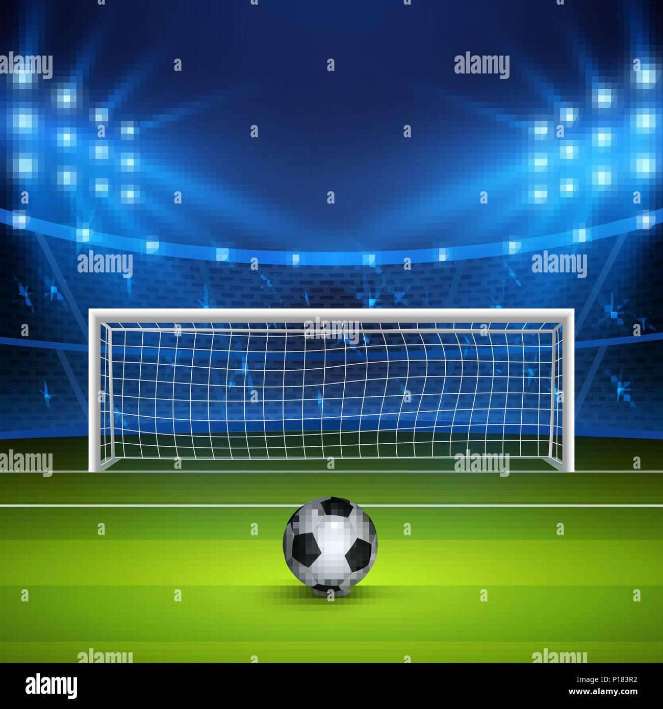 Soccer ball on green football field on stadium, arena in night illuminated bright spotlights. Vector illustration - Stock Vector