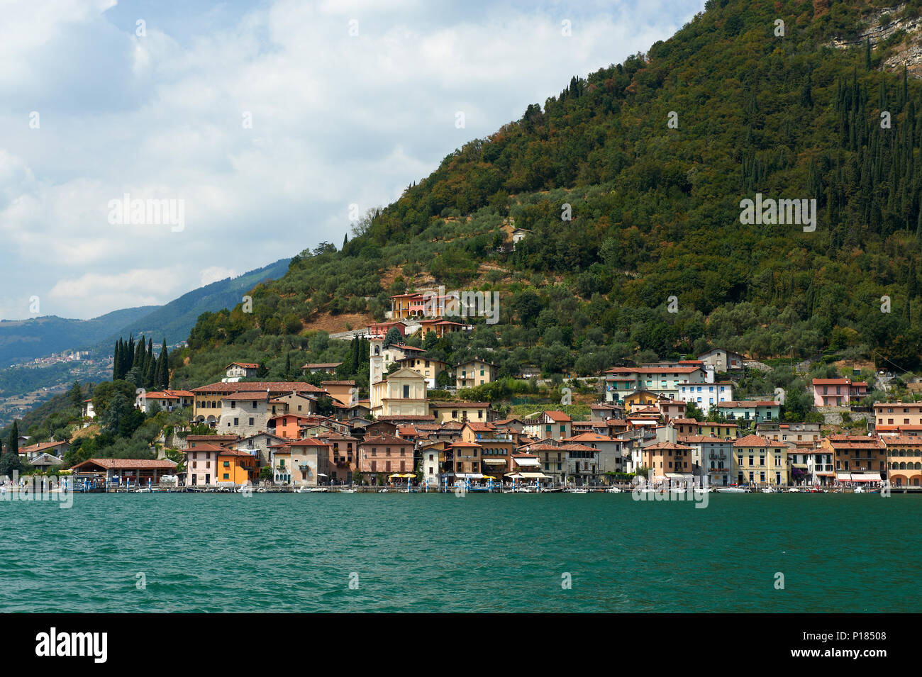 Peschiera Maraglio (Bs), island of Montisola, lake of Iseo, Italy,a view of the town - Stock Image