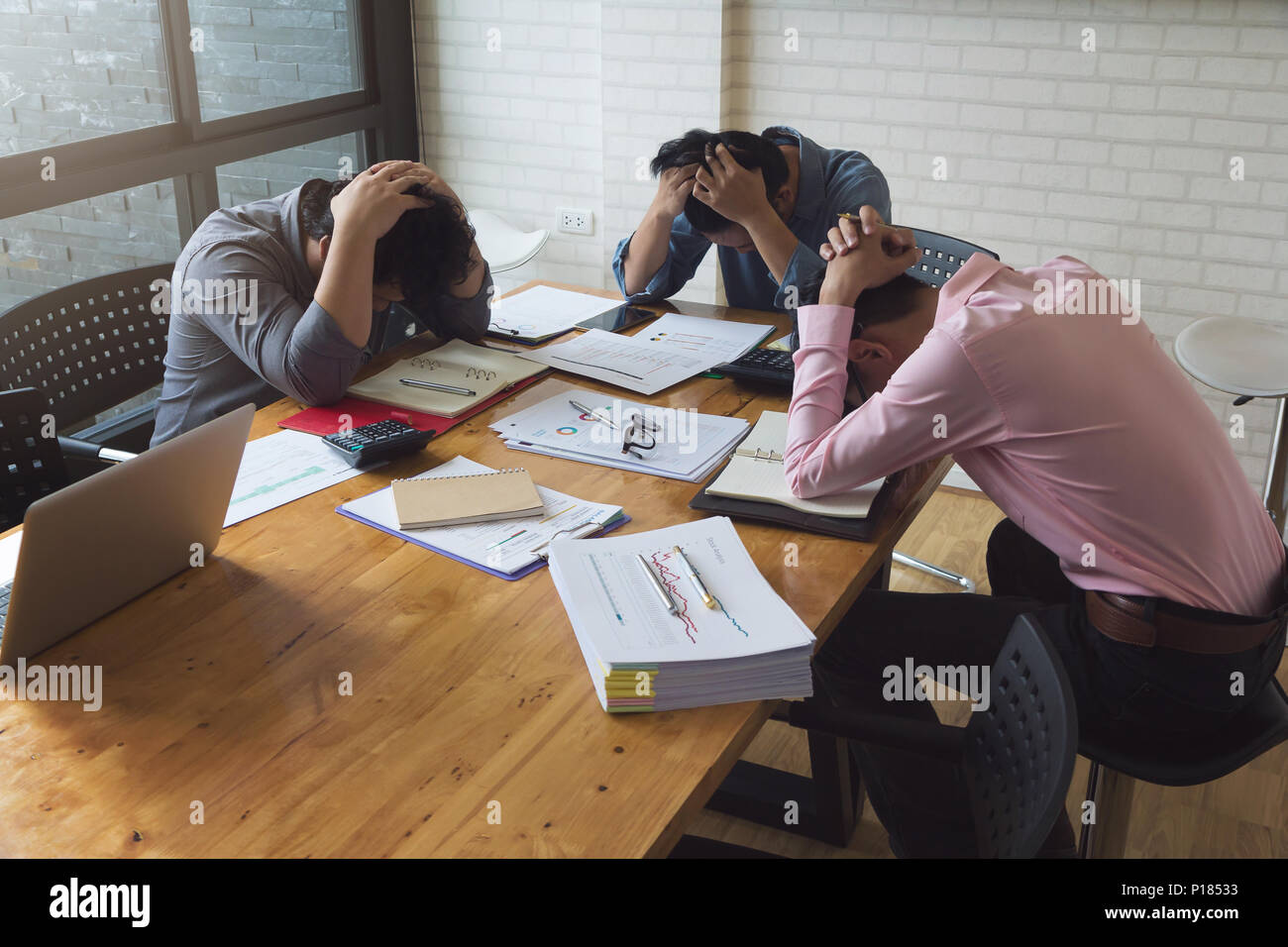 Business and finance concept of office working,Businessmen tried from working hard  and stress with new project missing deadline office - Stock Image