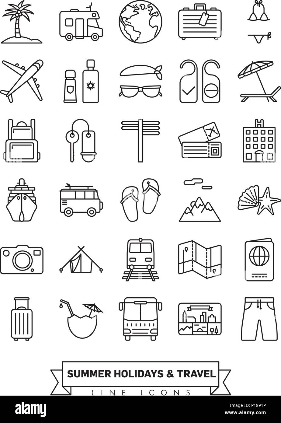 Summer holidays and global travel line icon collection - Stock Vector
