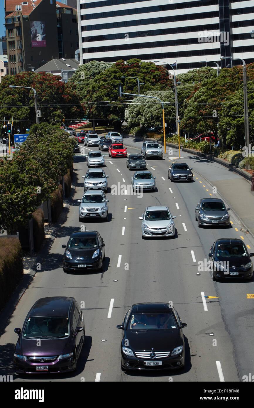 Traffic on Jervois Quay, Wellington, North Island, New Zealand - Stock Image
