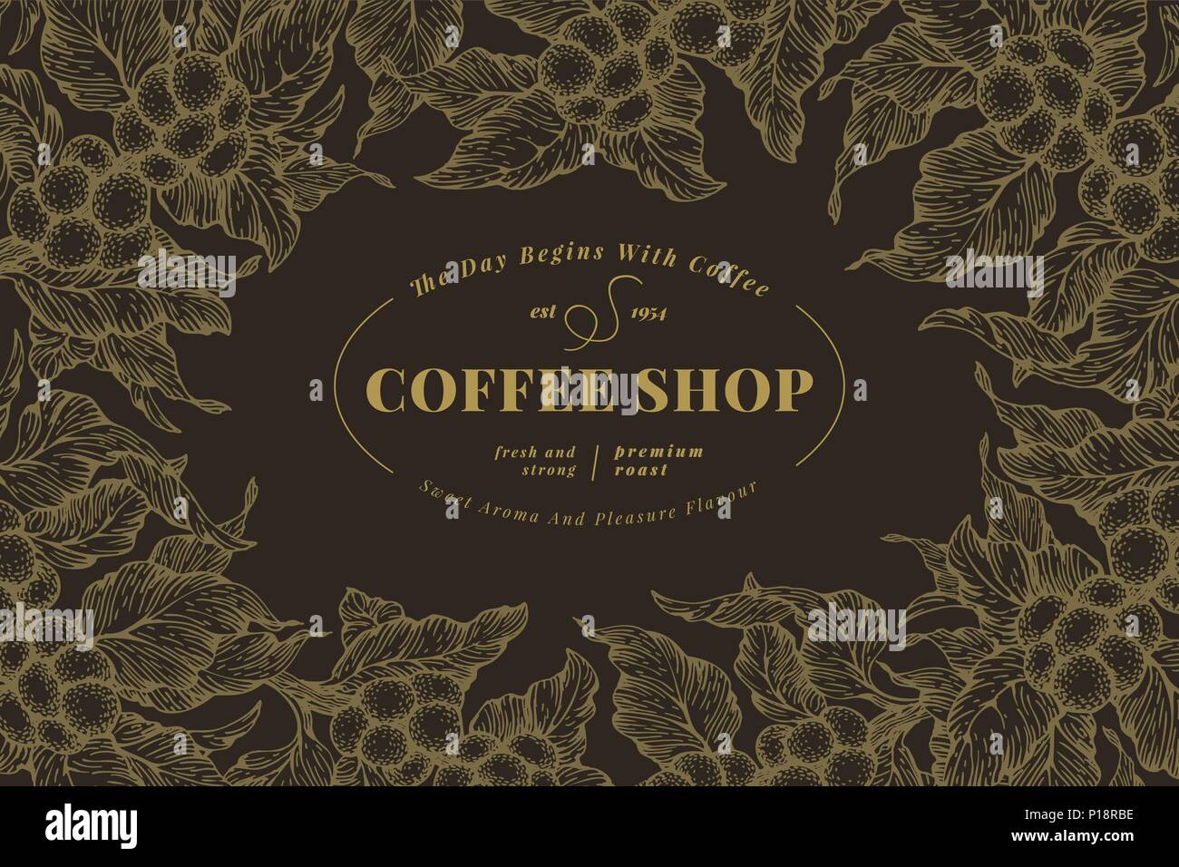 Coffee Tree Banner Template Vector Illustration Retro Coffee Frame