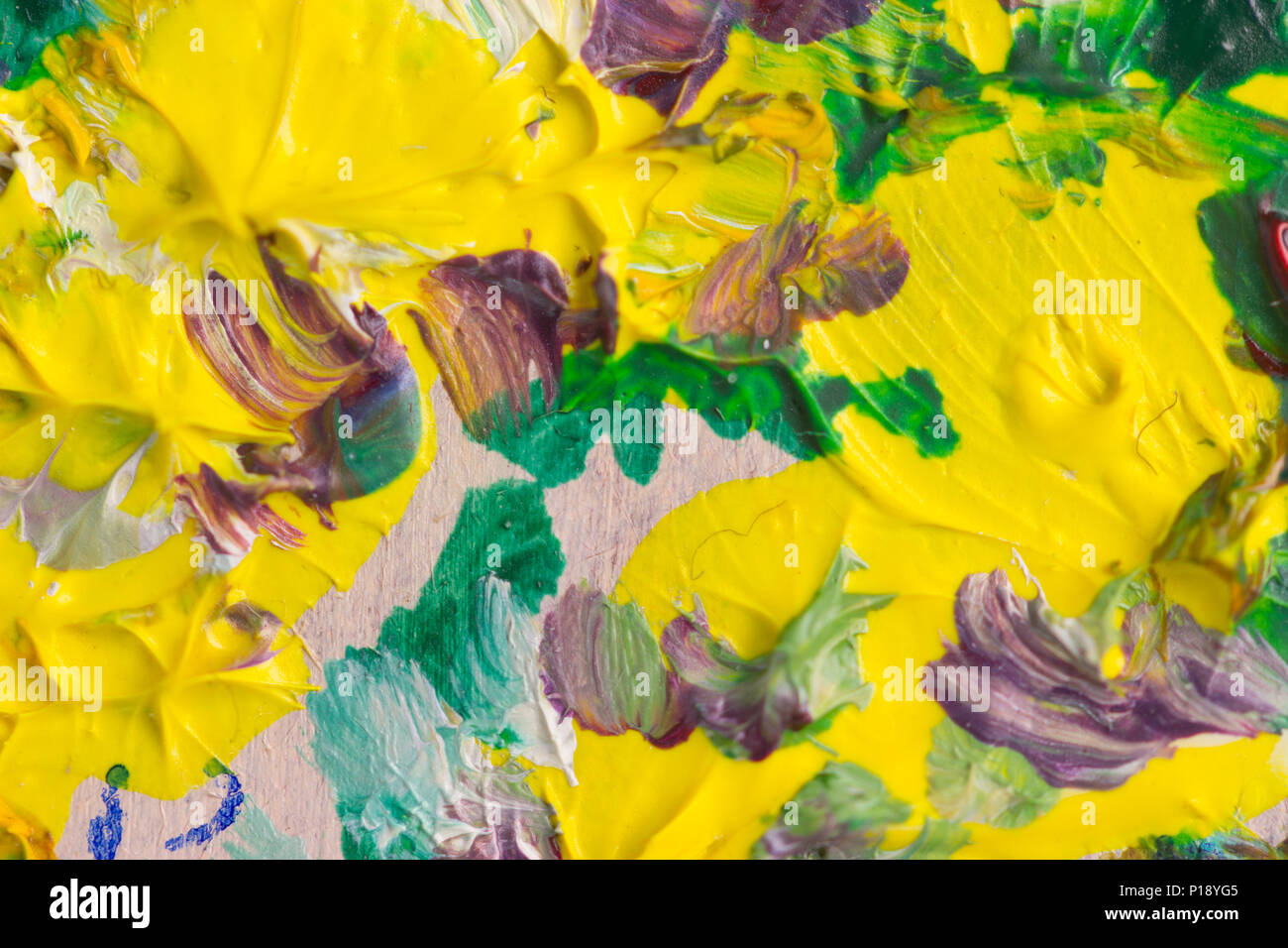 Macro Shot Of Oil Painting Of Yellow Flowers Stock Photo 207336309