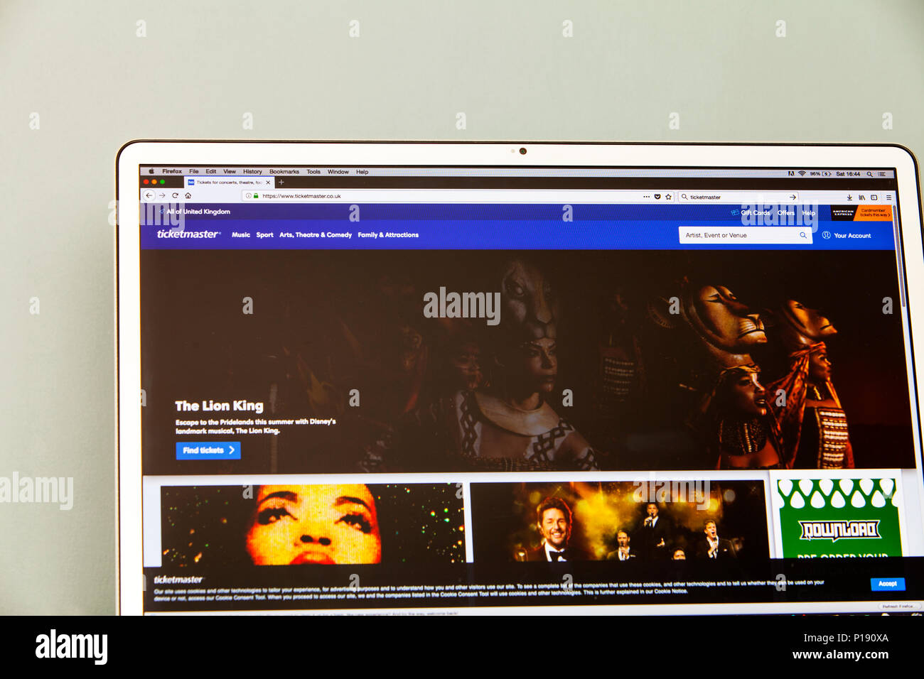 Ticketmaster, online ticket agent, concert tickets online, Ticketmaster website, event tickets website, Ticketmaster event tickets online, UK website Stock Photo
