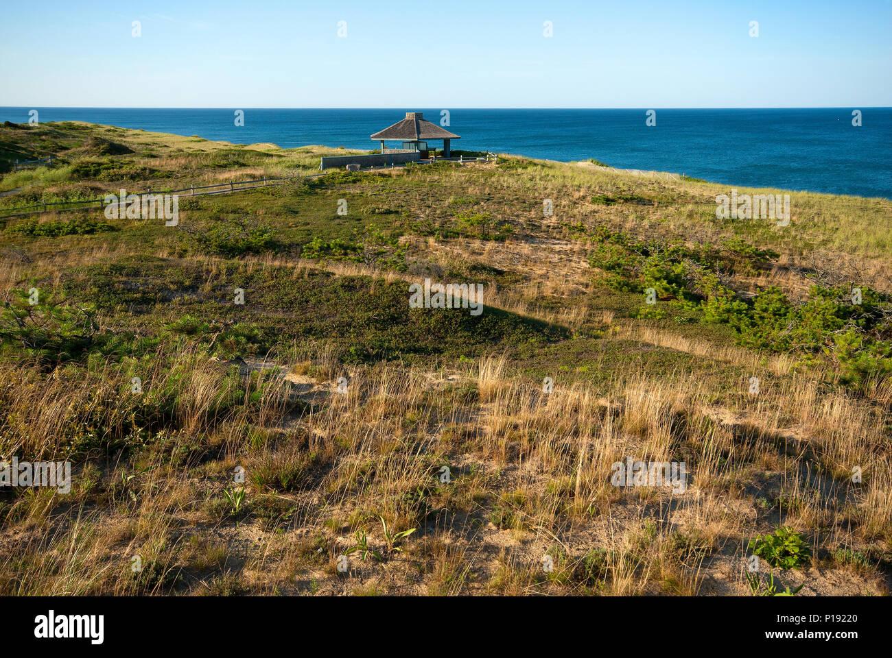 Marconi beach with Marconi Transatlantic Wireless Telegraph Station, Wellfleet, Barnstable County, Cape Cod National Seashore, Massachusetts, USA - Stock Image