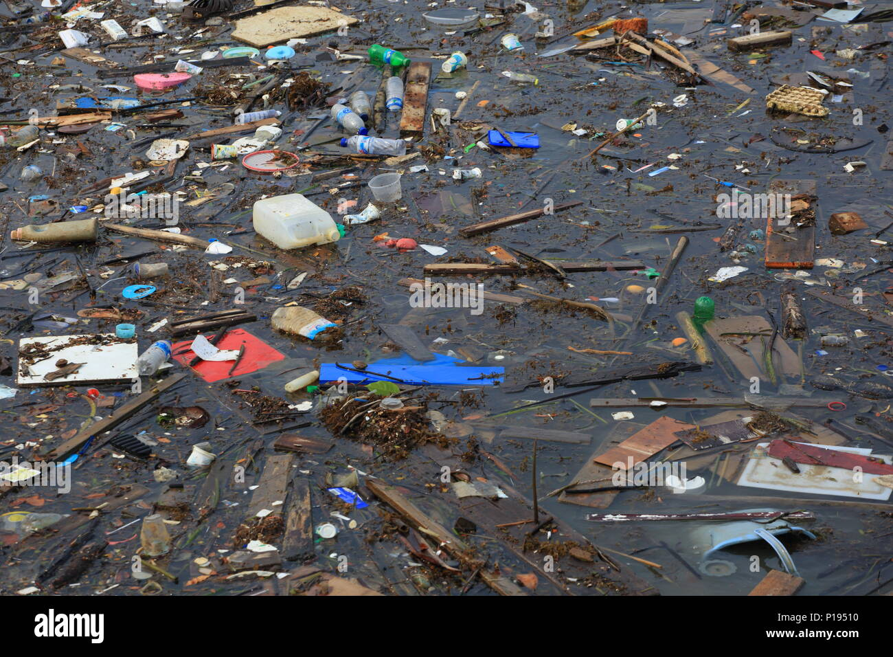 Plastic pollution on the water. - Stock Image