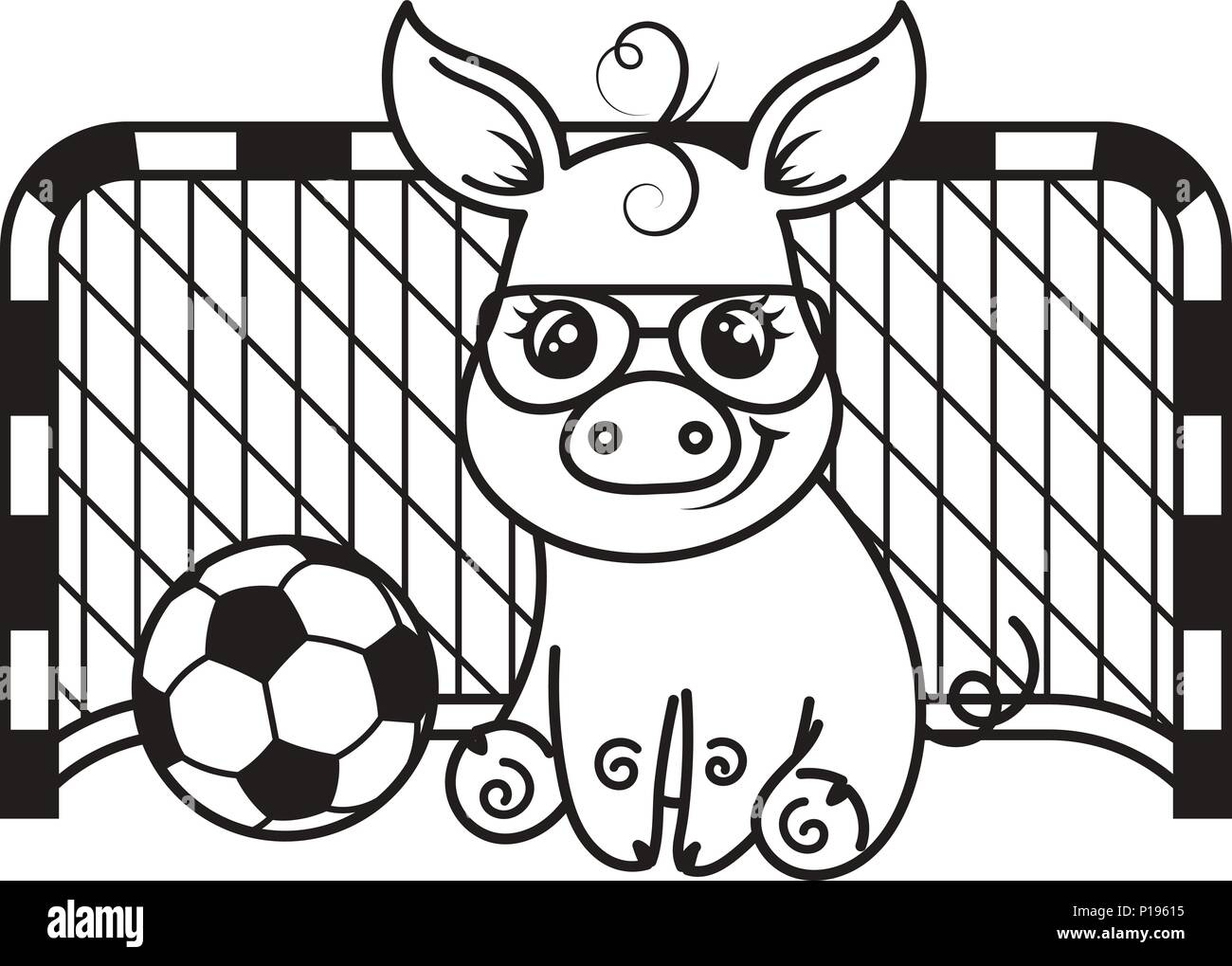 Cute cartoon pig with a soccer ball. Vector illustration. Coloring page - Stock Vector
