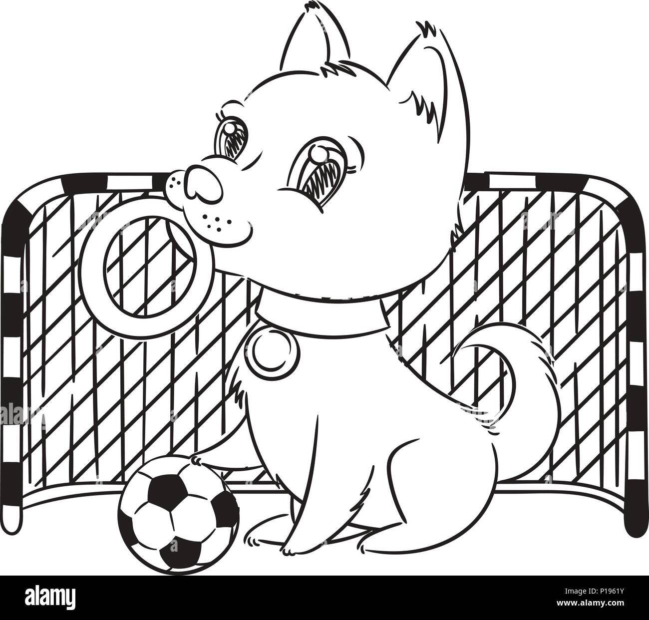 Vector Illustration With Cute Puppy With A Soccer Ball Card Or