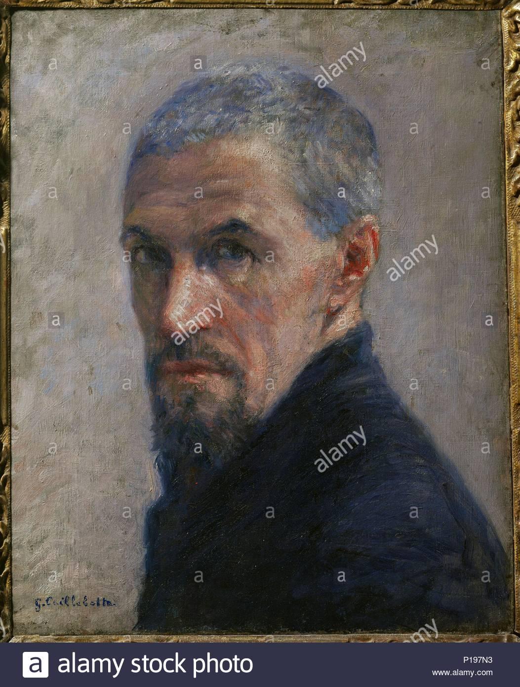 Portrait de l'artiste-selfportrait, around 1889. Canvas,40,5 x 32,5 cm R. F.1971-14. Author: Gustave Caillebotte (1848-1894). Location: Musee d'Orsay, Paris, France. - Stock Image