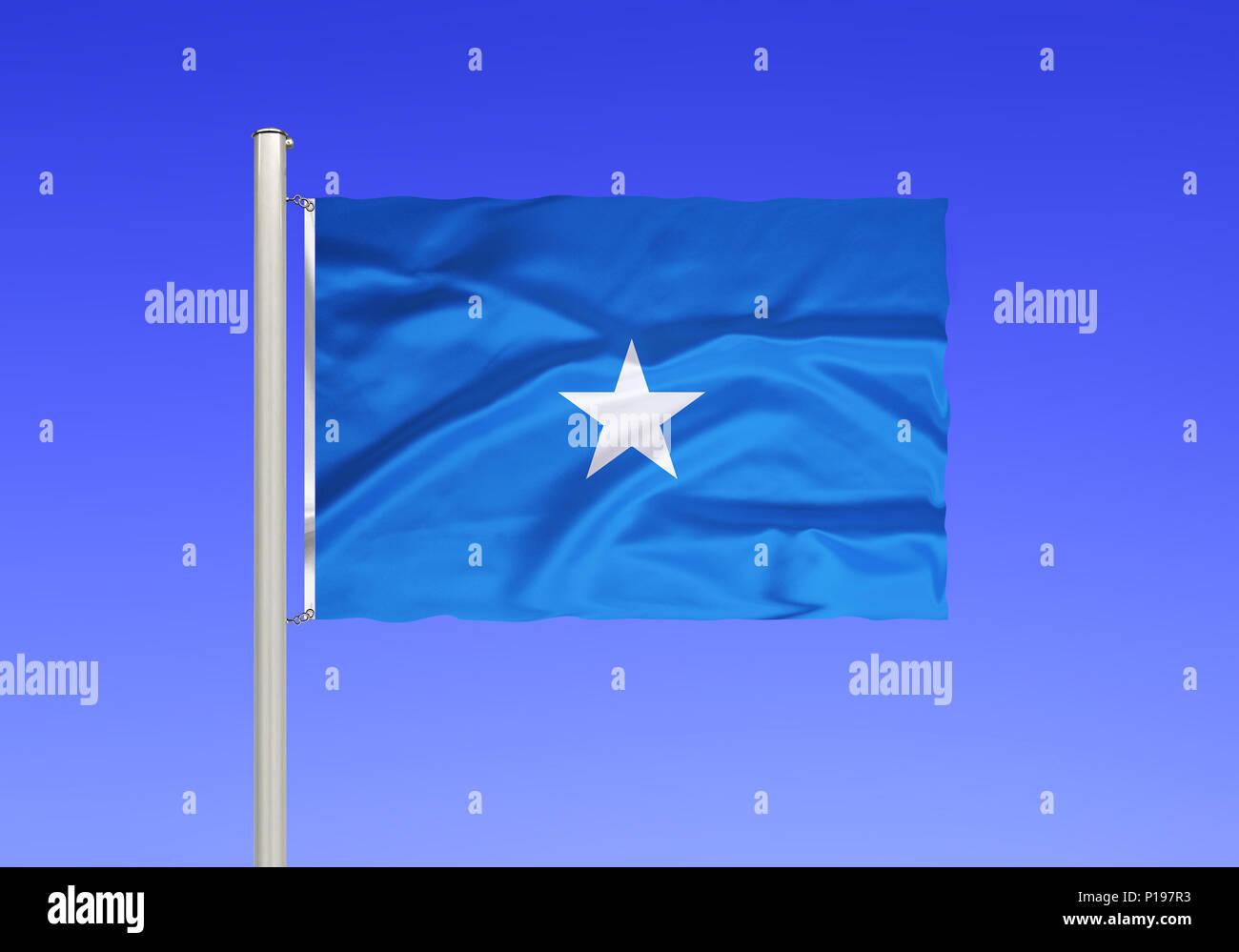 Flag of Somalia, Africa, Somali peninsula, East Africa,, Flagge von Somalia, Afrika, Somali-Halbinsel, Ostafrika, - Stock Image