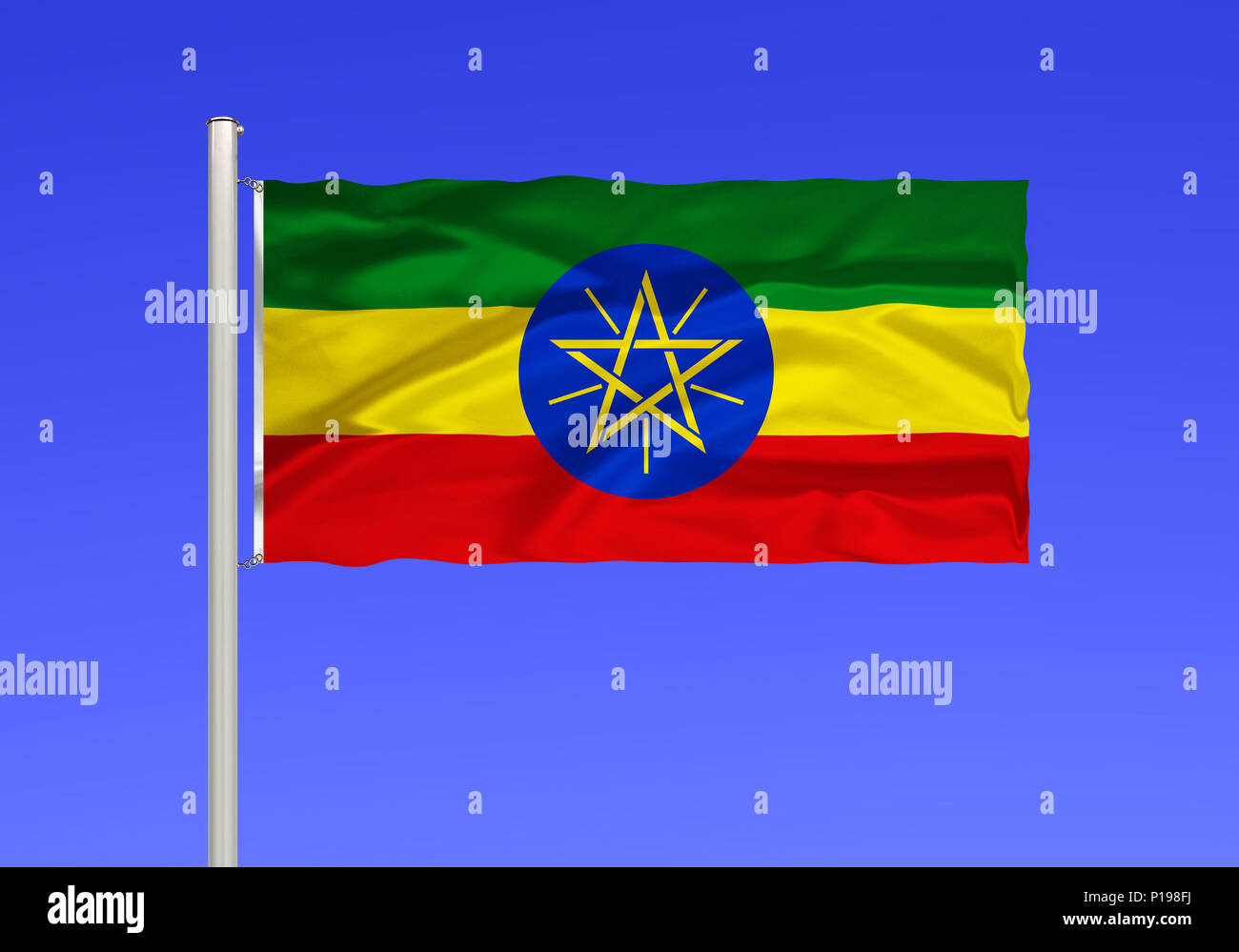 Flag of Ethiopia, landlocked country in North Africa, Africa, formerly abyssinia, the capital is Addis Ababa,, Flagge von Aethiopien, Binnenstaat in N Stock Photo
