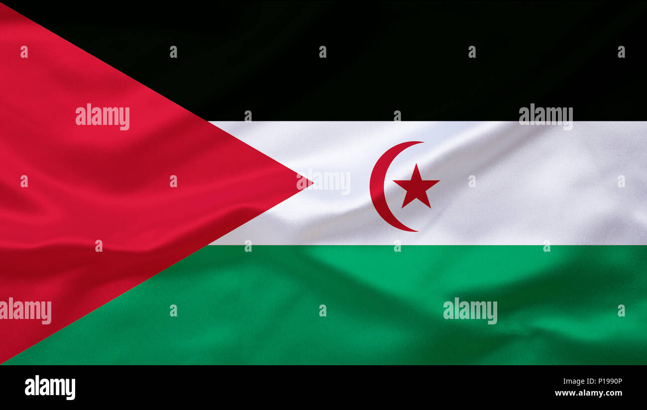 Flag of Western Sahara, Africa,, Flagge von Westsahara, Afrika, - Stock Image