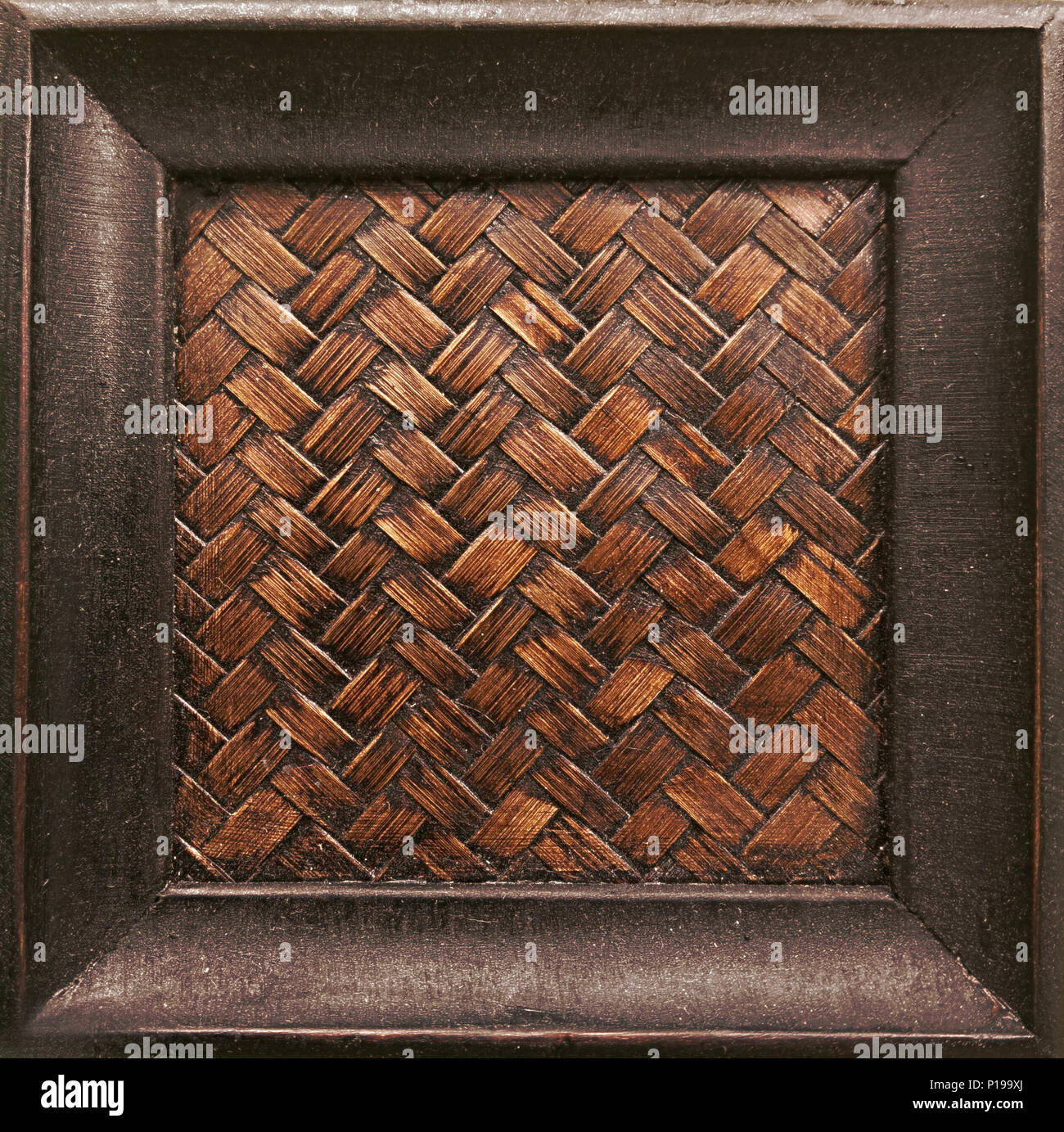 Old grunge brown rustic wooden picture frame use for text or product display Stock Photo