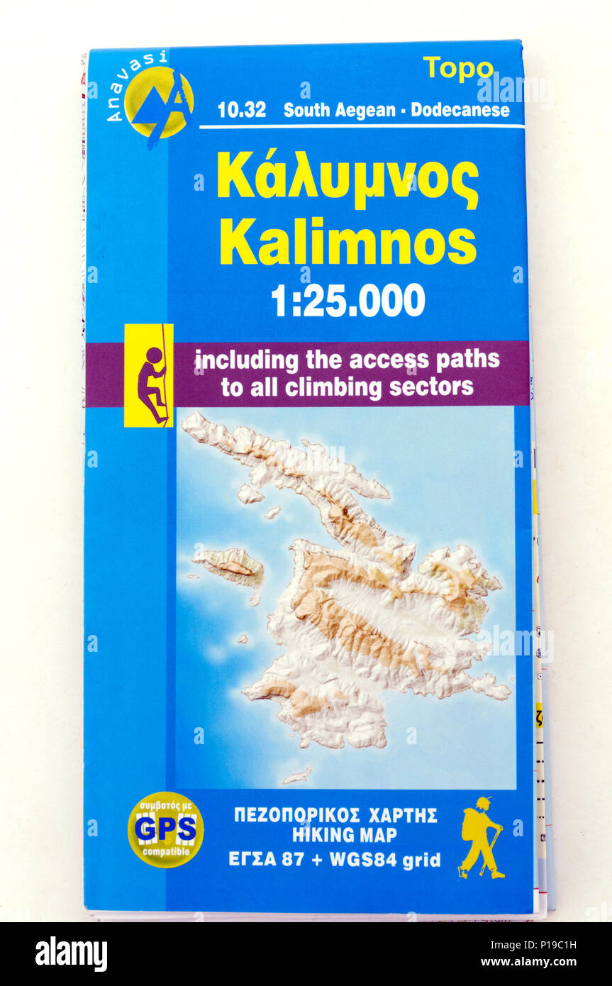 Topo Islands map of the Greek Island of Kalymnos. - Stock Image