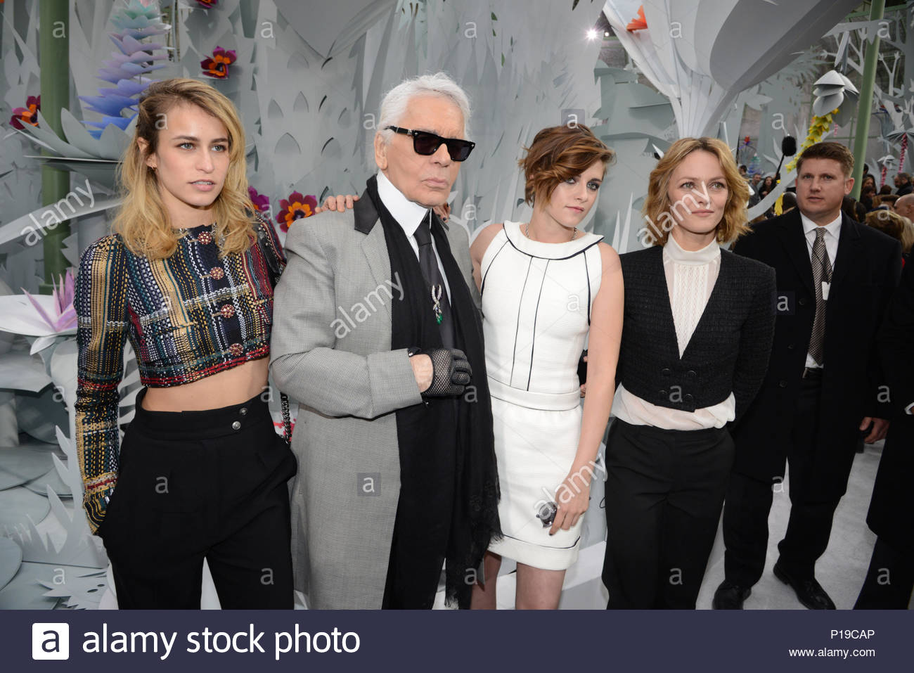 Alice Dellal, Karl Lagerfeld, Kirsten Stewart, Vanessa Paradis.     MANDATORY BYLINE TO READ INFPhoto.com ONLY    Alice Dellal attending the  Chanel show as ... 6c749c92aa1d