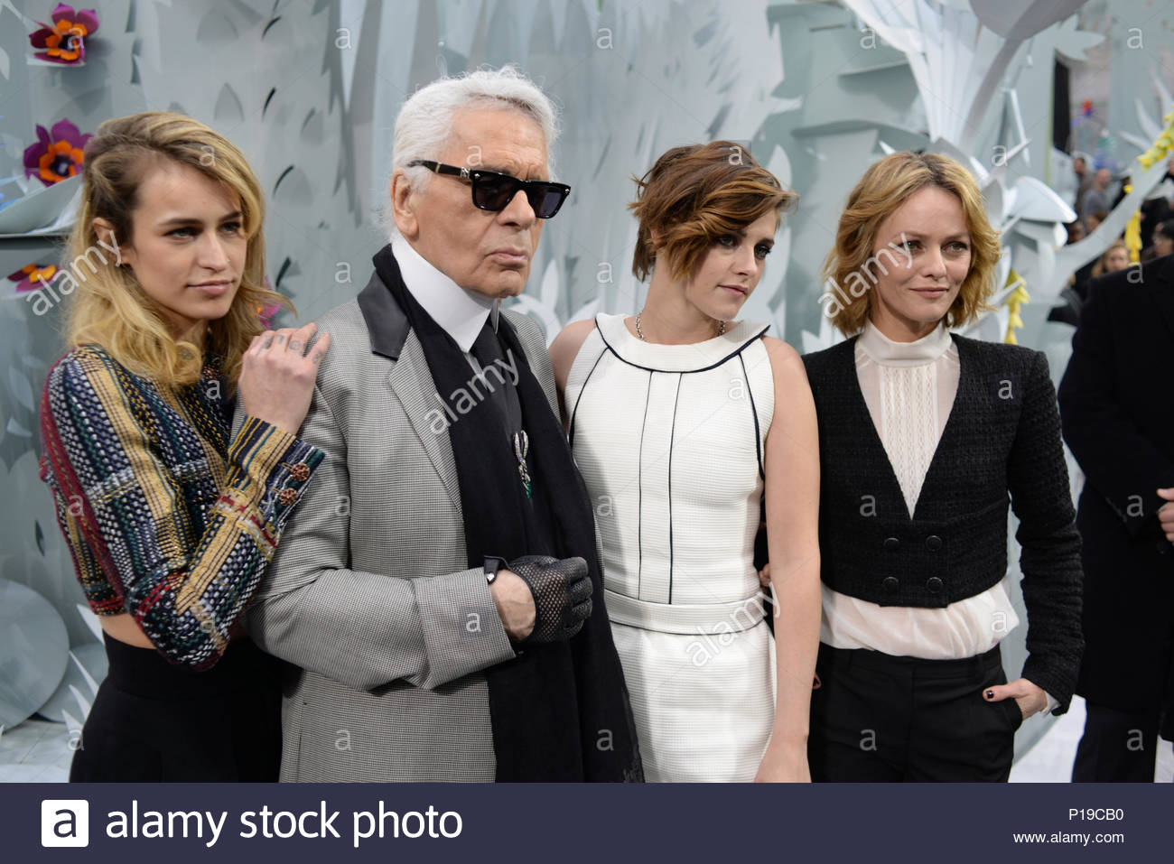 Alice Dellal, Karl Lagerfeld, Kristen Stewart, Vanessa Paradis.     MANDATORY BYLINE TO READ INFPhoto.com ONLY    Alice Dellal attending the  Chanel show as ... 1c8e918b8f0f