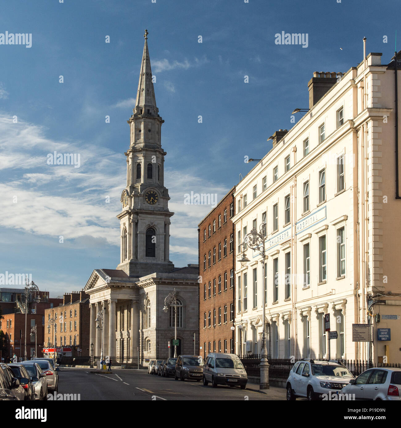 Dublin, Ireland - September 17, 2016: The former church of St George and the Children's Hospital on Temple Street in Dublin's Georgian north central n - Stock Image