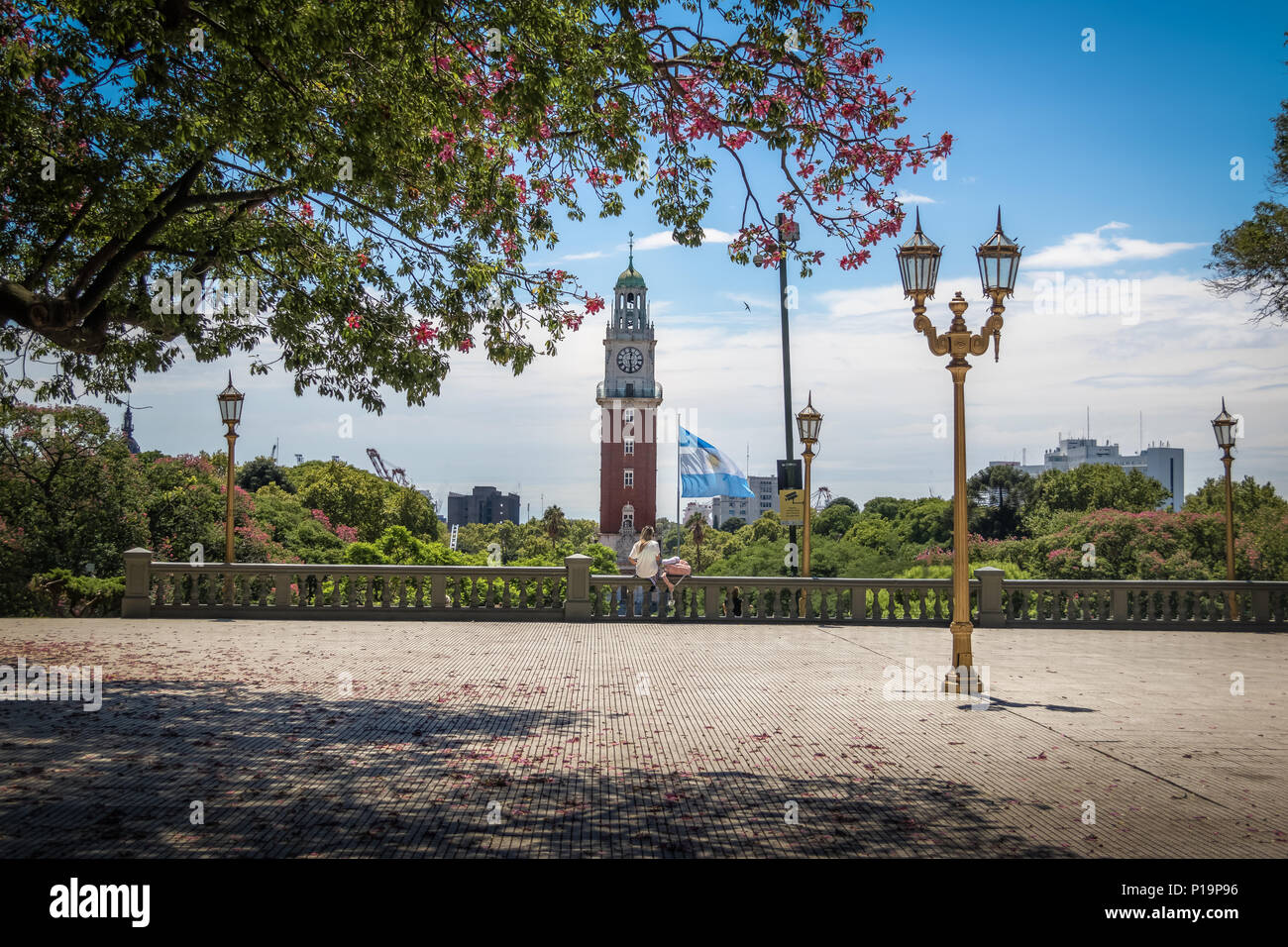 San Martin Square (Plaza San Martin) and Monumental Tower (Torre Monumental) at Retiro region - Buenos Aires, Argentina - Stock Image