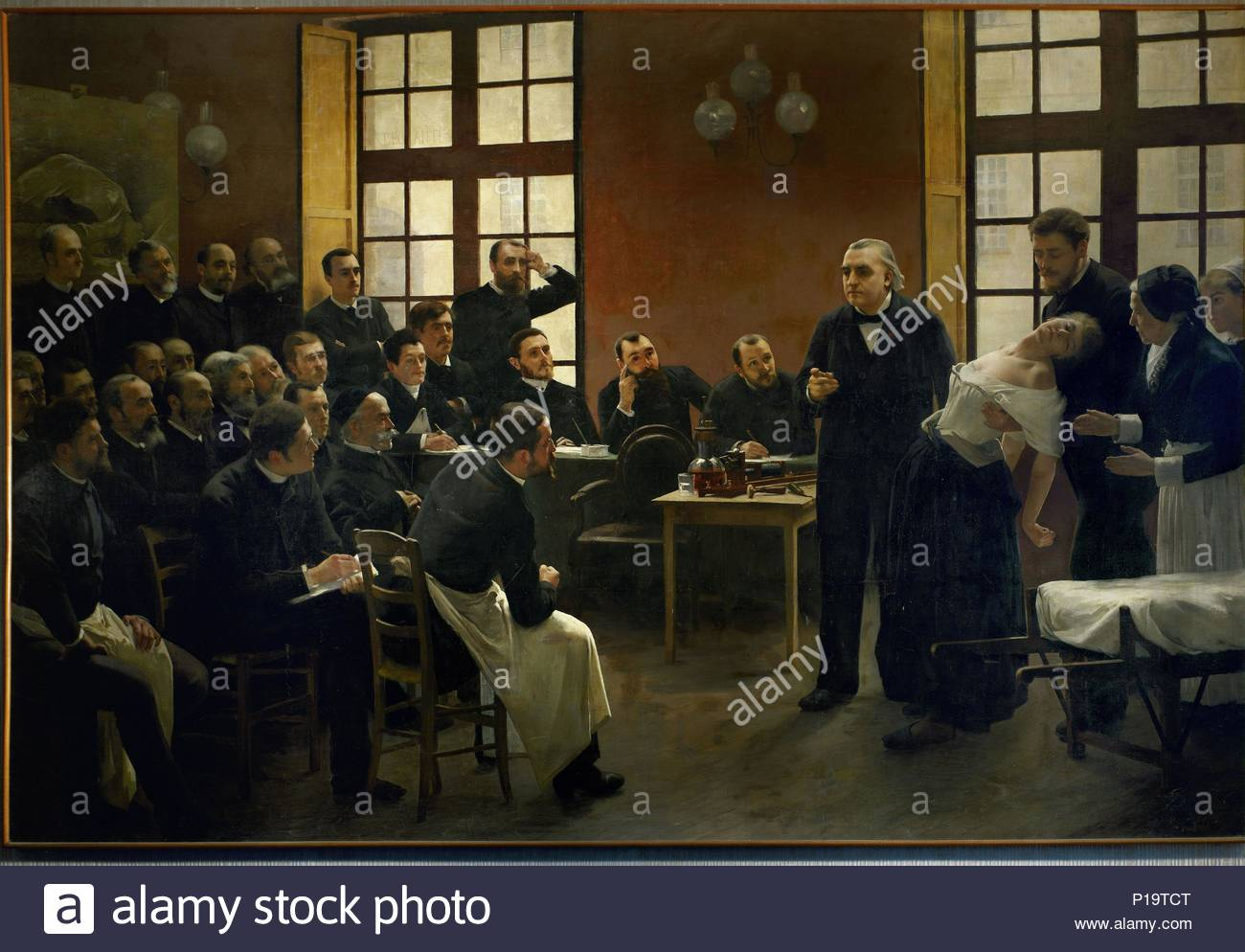 "A lesson on hysteria by Jean Martin Charcot (1825-93), pioneer of neurology, at the hospital "" la Salpetriere"". The patient is Blanche Wittmann, held by Babinski, who hypnotized the patients. Sigmund Freud took lessons with Charcot in 1885-86. Oil on canvas. Author: BROUILLET, ANDRE. Location: Musee d'histoire de la Medicine, Paris, France. - Stock Image"
