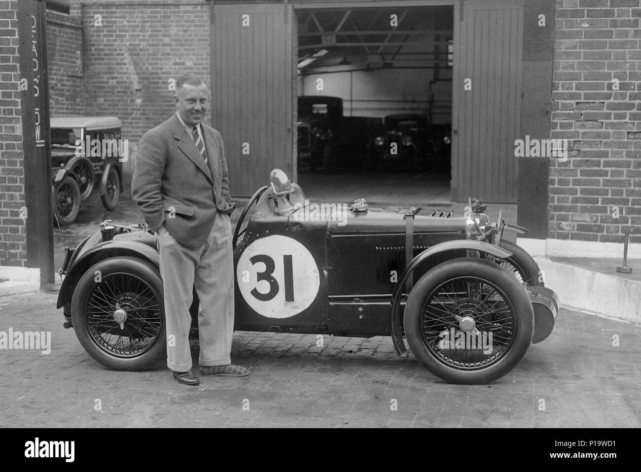 MG C type Midget of Cyril Paul at the RAC TT Race, Ards Circuit, Belfast, 1932. Artist: Bill Brunell. - Stock Image