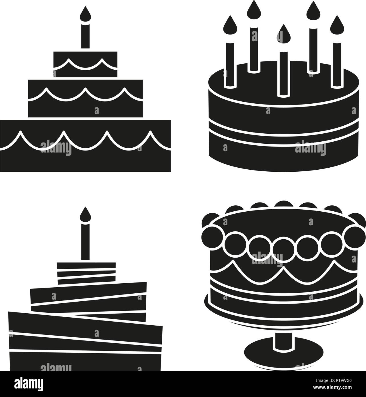 Groovy Black And White Birthday Cake Silhouette Set Stock Vector Art Funny Birthday Cards Online Alyptdamsfinfo