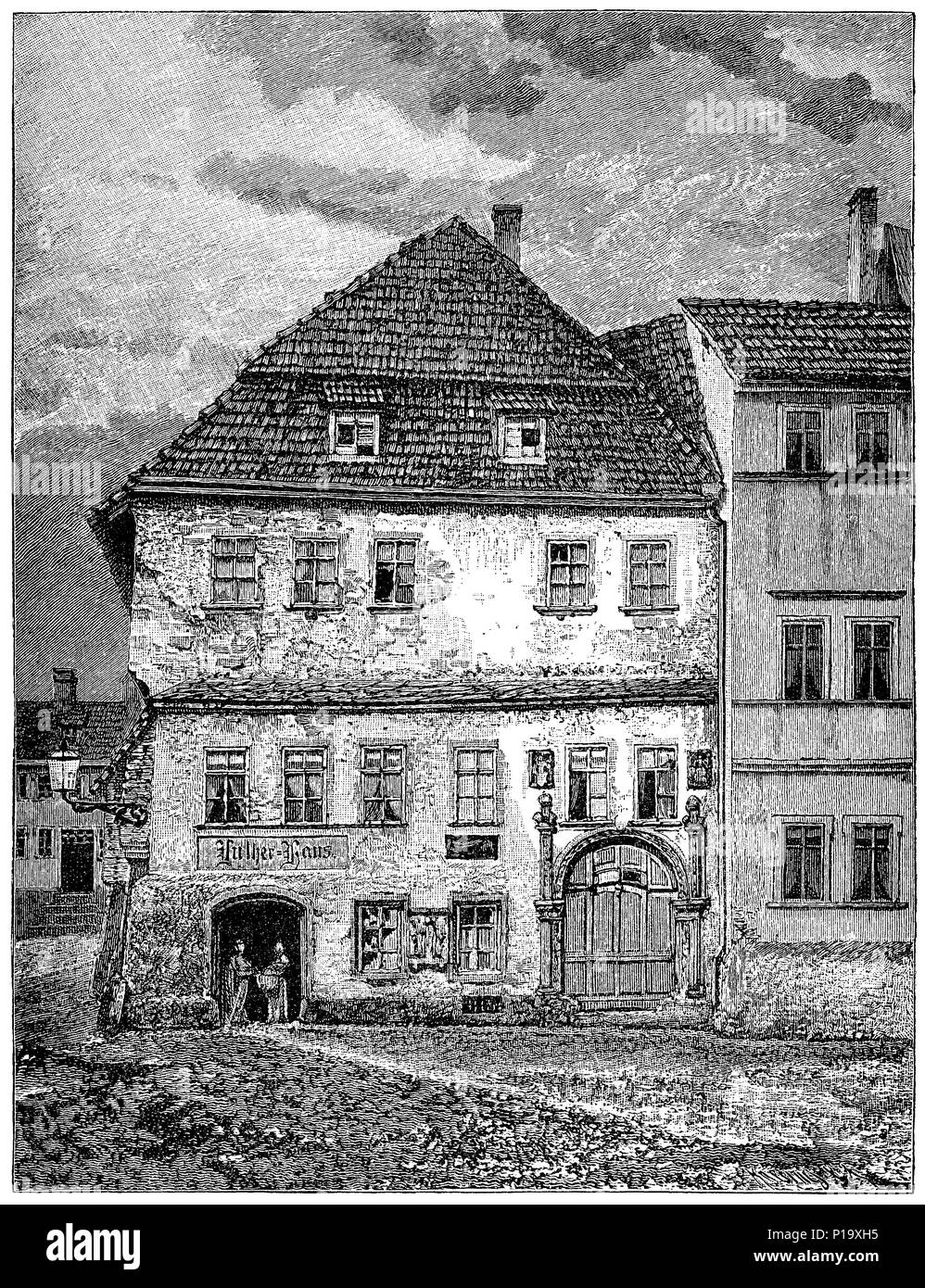 1883 engraving of the Lutherhaus in Eisenach, Germany. - Stock Image