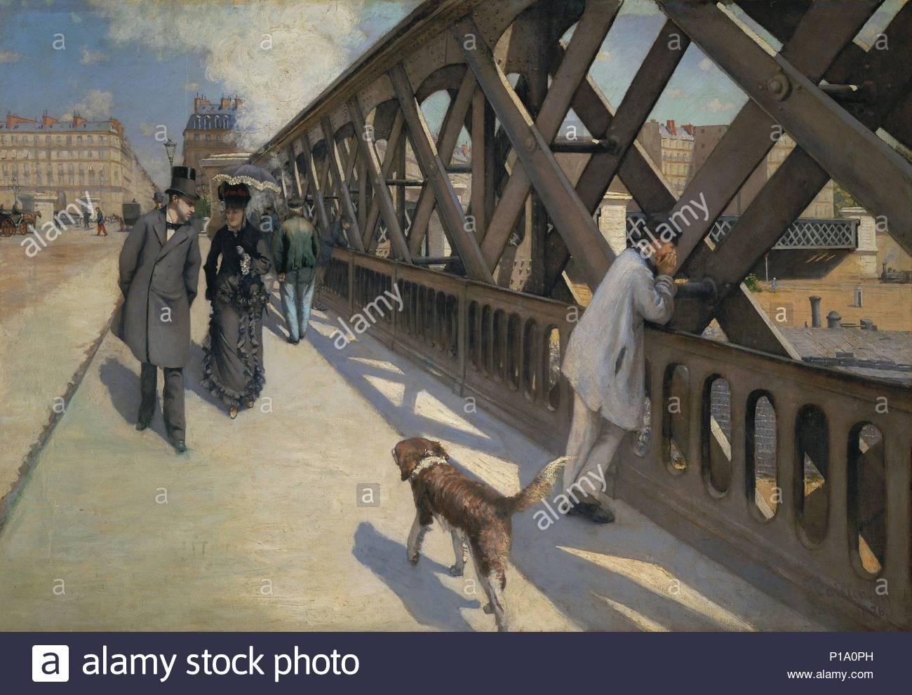 Le Pont de l'Europe, Paris, 1876 Oil on canvas 125 x 180 cm. Author: Gustave Caillebotte (1848-1894). Location: Musee du Petit Palais, Geneva, Switzerland. - Stock Image