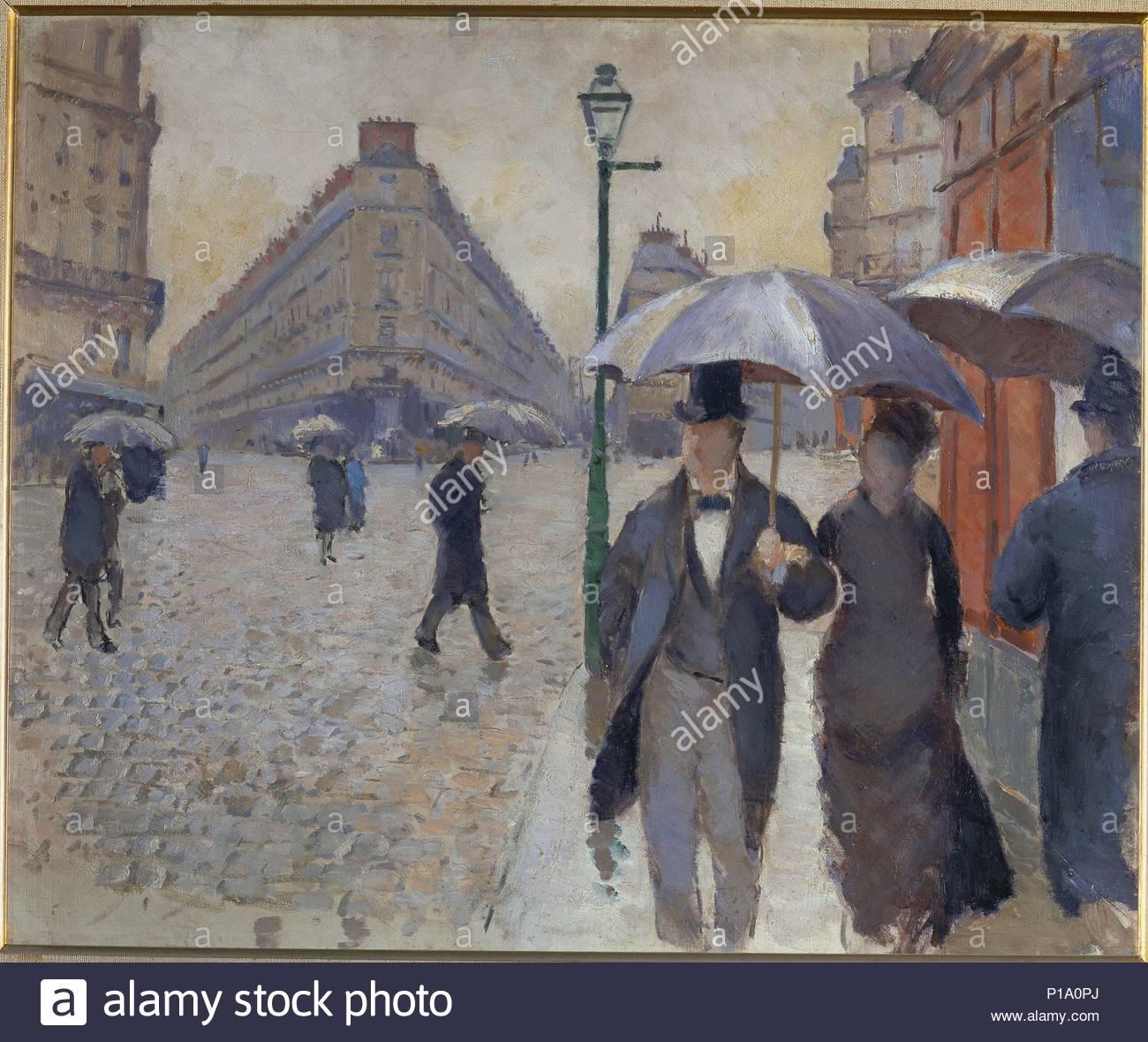 Rue de Paris; temps de pluie-Paris street; rain. 1877, oil-sketch 54 x 65 cm. Author: Gustave Caillebotte (1848-1894). Location: Musee Marmottan, Paris, France. - Stock Image
