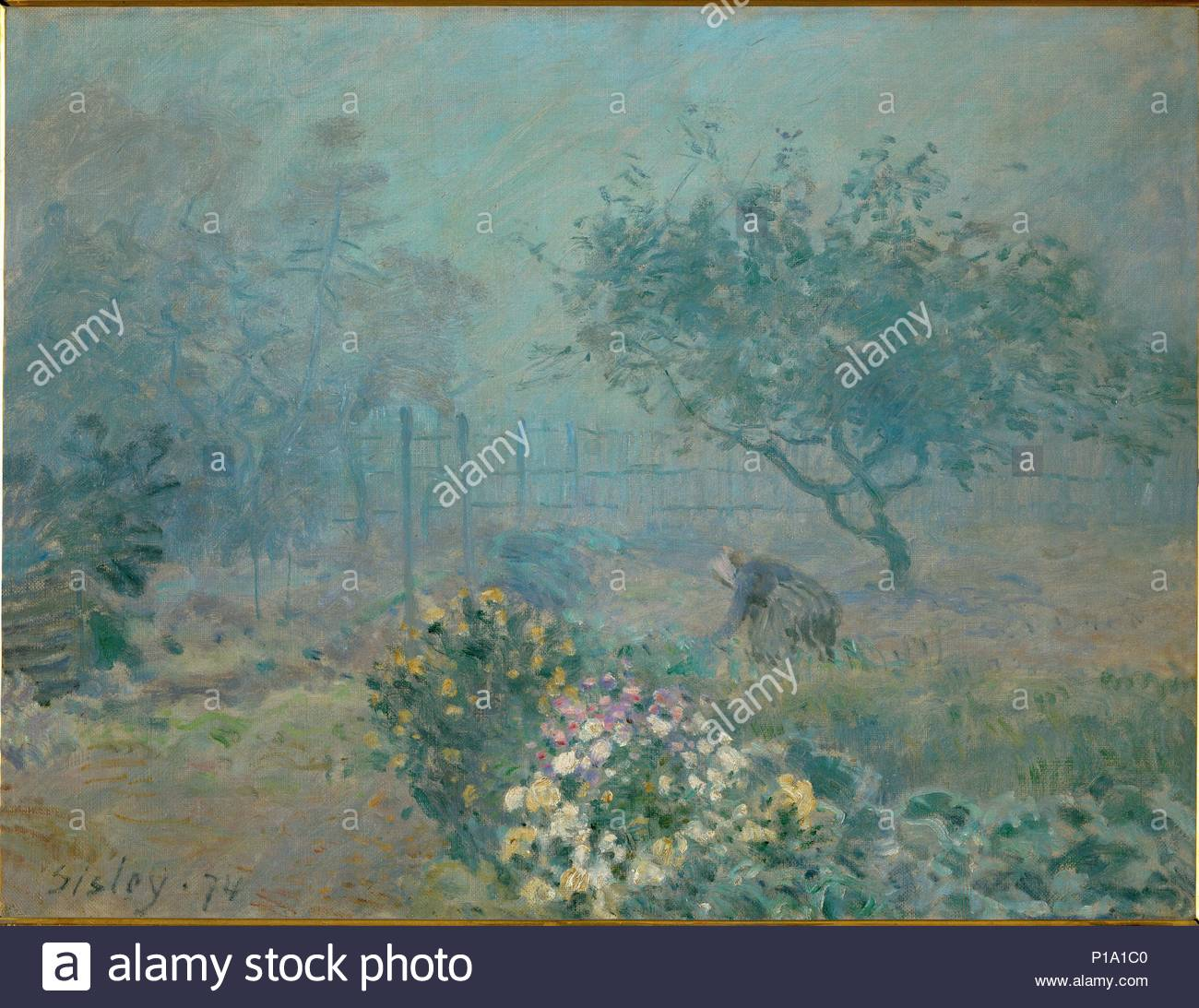 Le brouillard-Fog, 1874 Canvas, 50,5 x 65 cm R. F.1937-64. Author: Alfred Sisley (1839-1899). Location: Musee d'Orsay, Paris, France. - Stock Image